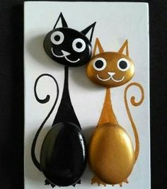 by alissa - Kaki Hido Cat Crafts, Diy And Crafts, Crafts For Kids, Arts And Crafts, Pebble Painting, Pebble Art, Stone Painting, Pebble Stone, Stone Crafts
