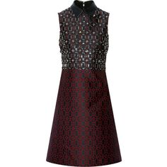 Gucci Embellished leather-trimmed jacquard dress ($2,340) ❤ liked on Polyvore featuring dresses, gucci, vestidos, red, red embellished dress, red dress, embellished cocktail dress, beaded dresses and geo dress