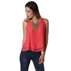 Coral Double Layer Cami Top