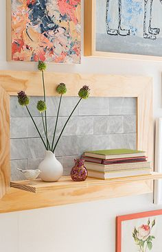 Combine wood and marble to create a display shelf with clean lines and a natural look. Incorporate the shelf into your gallery wall or use it in your entryway as a place to drop off keys and mail. Diy Wood Projects, Diy Projects To Try, Home Projects, Recycled Furniture, Home Decor Furniture, Lowes Creative, Creative Ideas, Modern Shelving, Wood Ideas