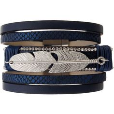 Unisex Bracelet Alloy Feather Leather Wide Multilayer Rhinestone... ($6.92) ❤ liked on Polyvore featuring jewelry, bracelets, wide bangle, layered jewelry, leather jewelry, feather bangle and leather bangles