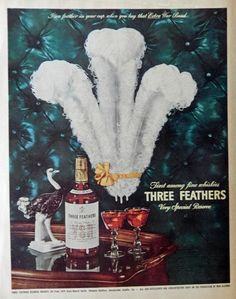 Three Feathers Whiskey  40 s Print Ad  full Page Color Illustration  Beautiful Tray drinks