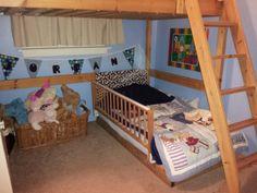 DIY Toddler bed under loft bed.