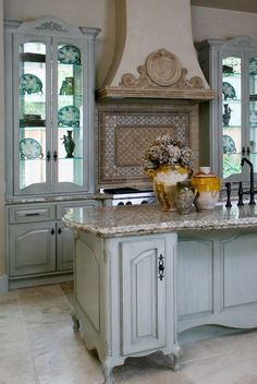 Nice French Style Kitchen Island Love The Shape Of The Granite Top
