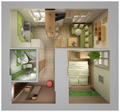 Home interior 3 by Olia Pietunova, via Behance