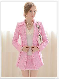 Morpheus Boutique  - Pink Knit Shoulder Long Sleeve Hem Jacket, CA$133.32 (http://www.morpheusboutique.com/pink-knit-shoulder-long-sleeve-hem-jacket/)