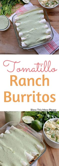 Tomatillo Ranch Burritos ~ super easy and delicious family favorite. Great freezer meal!