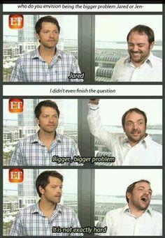 Who is the Bigger Problem, jared or jensen? Misha + Mark
