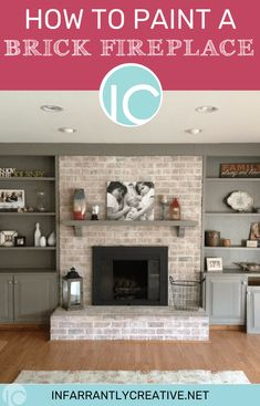 Good Photos update Brick Fireplace Popular Often it gives to be able to miss the particular upgrade! Instead of pulling out an outdated brick fireplace , save mone White Wash Brick Fireplace, Brick Fireplace Makeover, Fireplace Update, Old Fireplace, Fireplace Surrounds, How To Paint Fireplace, Painting A Fireplace, Mantle, Brick Fireplace Decor