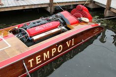 Tempo VI Ventnor. Allison V12 powered . Tempo was built in 1938 as My Sin, G-13, for mattress magnate Zalmon Simmons. It was designed by Adolph Apel and constructed by the Ventnor Boat Works. The two-seater was powered by a V-16 Miller. In its first season, the boat was unable to run in the APBA Gold Cup. All that changed a year later when Simmons won the Gold Cup in straight heats. The engine had been rebuilt by Charles Zumbach. Factory tested at over 100 mph!