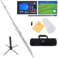 $159!!!! .Mendini MFE-30S Intermediate Open/Closed-Hole Silver Plated C Flute w/ B Foot Joint + Case, Chromatic Tuner w/ 1 Yr Warranty, Metronome, Stand, Pocketbook, Cleaning Rod & Cloth, Joint Grease, & a Pair of Gloves Mendini by Cecilio,http://www.amazon.com/dp/B0053L5BOQ/ref=cm_sw_r_pi_dp_hUEpsb03EE3H9DDE