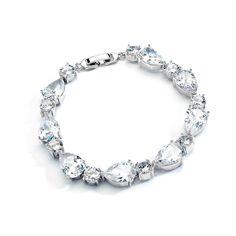 Brilliant CZ Pears and Rounds Wedding Bracelet-- Affordable Elegance Bridal -