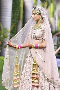 Looking for Bride in light pink lehenga with matching kaleere? Browse of latest bridal photos, lehenga & jewelry designs, decor ideas, etc. on WedMeGood Gallery. Indian Bridal Fashion, Indian Wedding Outfits, Bridal Outfits, Wedding Dress Styles, Bridal Dresses, Indian Weddings, Indian Outfits, Indian Attire, Indian Wear