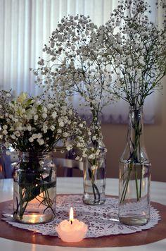 mesa convidados chá cozinha mosquitinhos vidros rendas #mosquitinhos