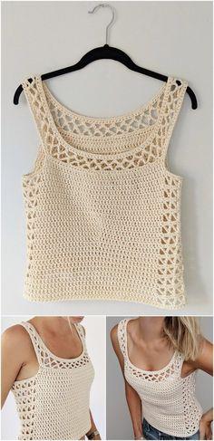 50 Easy Crochet Top Patterns for Beginners Crochet Tank Tops, Crochet Blouse, Crochet Bikini, Crochet Stitches, Crochet Patterns, Crochet Ideas, Easy Crochet, Knit Crochet, Little Girl Skirts