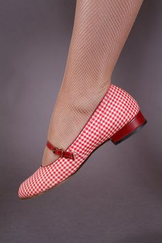 Vintage 1950s Shoes  Red and White Gingham Flats  by FabGabs, $98.00