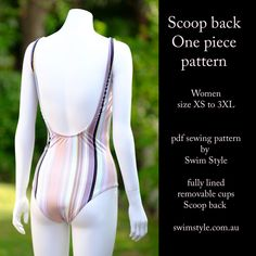 Our Scoop back one piece pattern, Made in vertical stripe fabric. A fashion favourite!