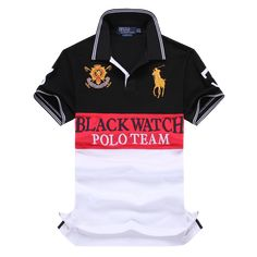 a06b361f3 Ralph Lauren Man Custom Fit Black Watch Polo Shirt Team Red Black Stripe  Business Casual Polo