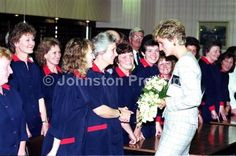 October, 1991: Princess Diana chats to some employees during a visit to the Ethicon factory at Sighthill industrial estate Edinburgh.