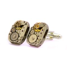 Watch Movement Cufflinks , silver plated, Clockwork Cufflinks, Watch Cufflinks, SteamPunk Cufflinks. Vintage watchmovement mens cufflinks. by Mysstic on Etsy