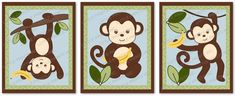 Monkey Jungle Printable Nursery Wall Art Instant Download