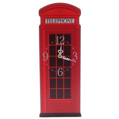 Fun Red Telephone Box Shaped Decorative Wall Clock £12 + FREE P&P  Each clock is made from MDF and has a standard plastic clock movement that requires 1 AA battery. All are wall mountable and come in a decorative but simple display box making them ideal gifts.  Dimensions: Height 35cm Width 13.5cm Depth 2.5cm  #htlmp #clocks #telephone #box #red #london