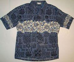 Mens Blue Hawaiian Shirt XL Hibiscus Winnie Fashion Floral Turtles Camp Aloha
