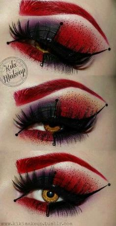inspired eye makeup from batmans harley quinn this is really crazy but awesome i dont think i like the red eyebrow but the shadow is amazing - Eyeshadow For Halloween