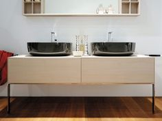 The compono bathroom system is made up of various containers in different dimensions with doors, drawers and niches. Double Vanity, Bathing, Sink, Interior Design, 180, Leonardo, Furniture, Bathrooms, Home