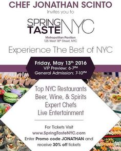 Join Us at Spring Taste NYC!  Exclusive Discount  Visithttp://ift.tt/1TKpJb0 tickets  Use Promo CodeJONATHAN for 30% offyour purchase   Please join us onFriday May 13th2016 for the First Annual Spring Taste NYC.  Enjoy bites from the citys best restaurants and sips from breweries wineries and distilleries. Plus experience cooking demos led by expert chefs live entertainment photo booths and more! As you eat and drink your way through the event you will be supporting a great cause! Aportion…