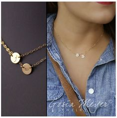 Layering Necklace, Multi strand necklace, Personalized Necklace - Two Charms Discs Necklace - 14k gold filled Initial Necklace