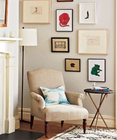 Trying to figure out something to do with a similar corner in our house. Like the varying frame sizes on wall.