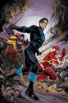 Asa Noturna, Flash, Batgirl & Capuz Vermelho.