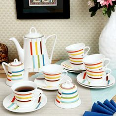 ClayCraft White, Red & Yellow Useries George Tea Set of Fifteen Pieces,Coffee & Tea Sets-Tea-Sets
