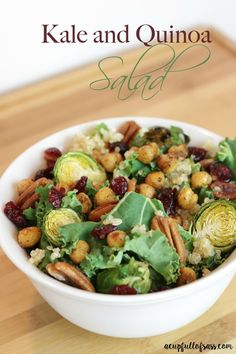 Kale and Quinoa Salad with Brussels Sprouts, Chickpeas and Pecans. This is my favorite salad.