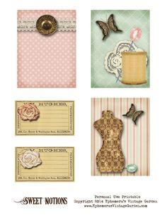Ephemera's Vintage Garden: Free Printable - Sewing Cards