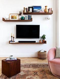 Living Room Shelves, Small Living Rooms, New Living Room, Living Room Kitchen, Living Room Modern, Living Room Decor, Wall Shelves, Ikea Shelves, Wall Storage