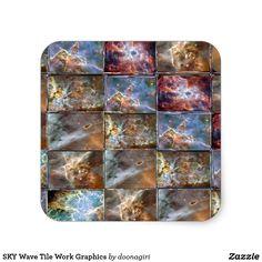 SKY Wave Tile Work Graphics Square Sticker