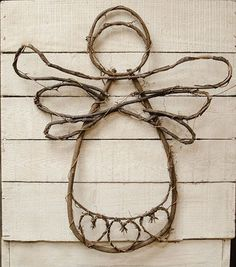 Grapevine Angel Wall Decor Country Primitive Floral Decor