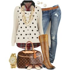 #plus #size #outfit #plussize #Fall Tartan & Dots - Plus Size