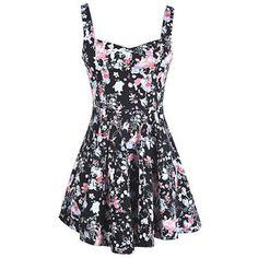 Colorful Floral Black V Neck Strap Back Hidden Zip Nipped Waist Sundress