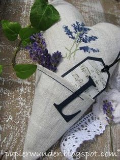 love this pocket pillow idea ~ lavender, monogram, musical tag, embroidery