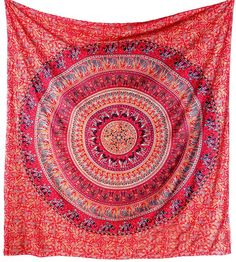 RED PINK MANDALA - LARGE BED BEDSPREAD BEDDING THROW - TAPESTRY WALL HANGING - HIPPIE BOHO BOHEMIAN HOME DECOR