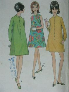 McCall's 8761 1960s shift dress by Fripperie on Etsy (Craft Supplies & Tools, Patterns & Tutorials, Sewing & Needlecraft, Sewing, sewing, McCalls, 1960s, dress, shift, A line, mini, mandarin collar, long sleeves, sleeveless, vett, vmteam, mod dress pattern)