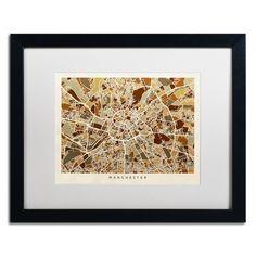 Manchester England Street Map II by Michael Tompsett Framed Graphic Art in White