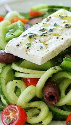 Spiralized Greek Cucumber Salad with Lemon and Feta
