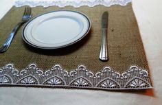 Burlap Placemats - Set of 4- Wedding placemats by MadeInBurlap on Etsy https://www.etsy.com/listing/151674094/burlap-placemats-set-of-4-wedding