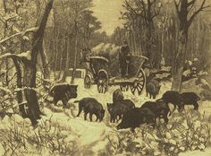 Krmení černé zvěře v zimě // Winter Feeding of wild boars Ilustrovaný svět, Winter, Painting, Art, Winter Time, Art Background, Painting Art, Paintings, Kunst, Drawings