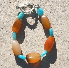 Banded Agate Blue Hemimorphite Semi Precious Stone Women's Bracelet.    Purchase at www.kinneyperry.com       CLICK on the pic for more details.  http://www.multicolorgems.com