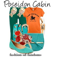 Outfit inspired by Poseidon's Cabin from Rick Riordan's Percy Jackson and the Olympians series